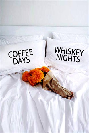 Coffee Days Whiskey Nights Dekoratif Yastık Kılıfı