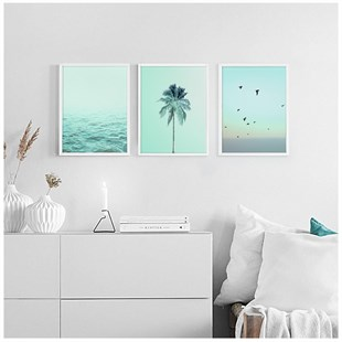 Mint Tropical Poster Tablo Seti